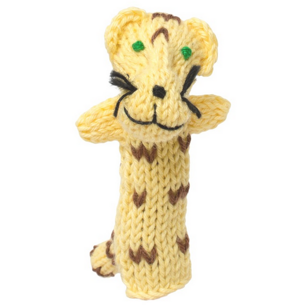 Bright Organic Cotton Finger Puppets - Jaguar