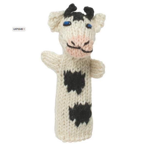 Bright Organic Cotton Finger Puppets - Cow