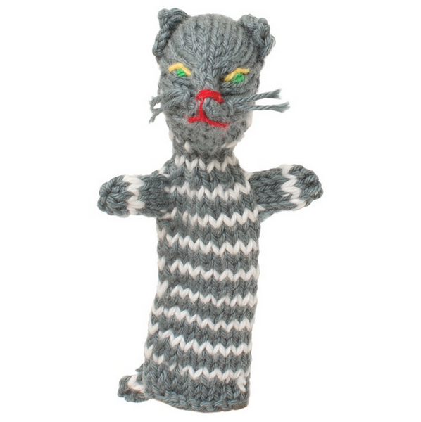 Bright Organic Cotton Finger Puppets - Cat