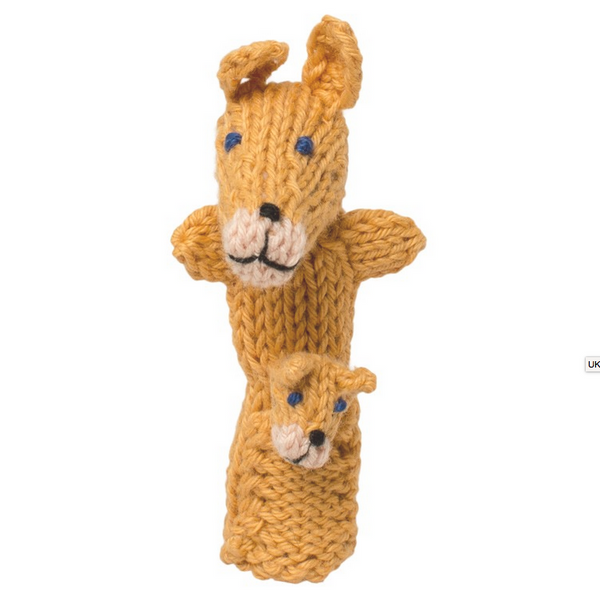 Bright Organic Cotton Finger Puppets - Kangaroo