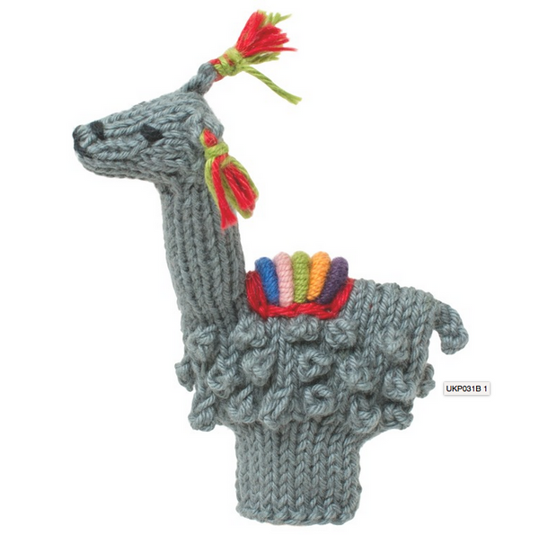 Bright Organic Cotton Finger Puppets - Llama