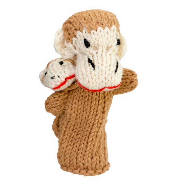 Bright Organic Cotton Finger Puppets - Monkey & baby