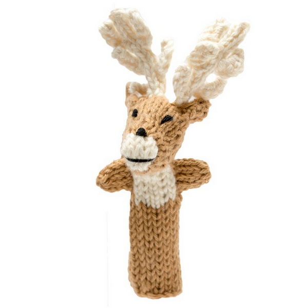 Bright Organic Cotton Finger Puppets - Moose