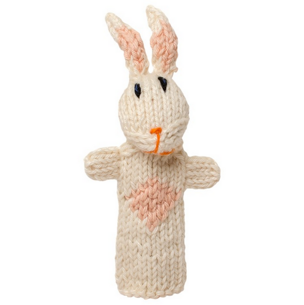Bright Organic Cotton Finger Puppets - Rabbit