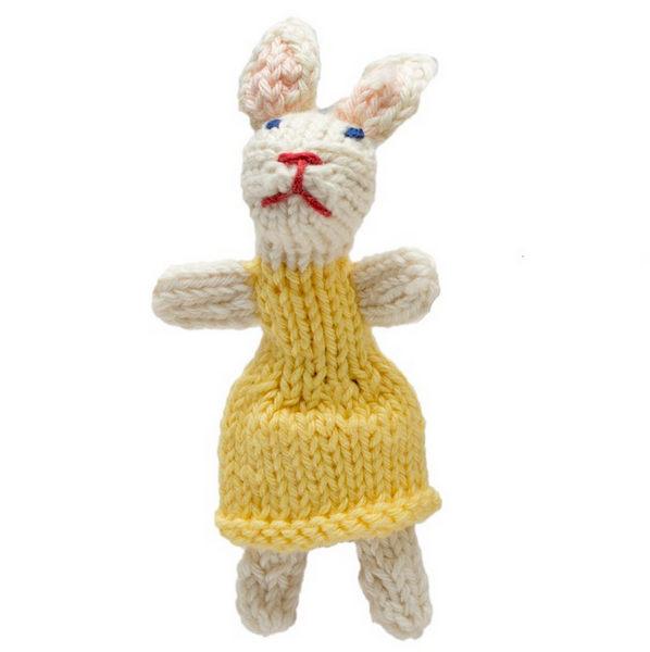 Bright Organic Cotton Finger Puppets - Rabbit girl