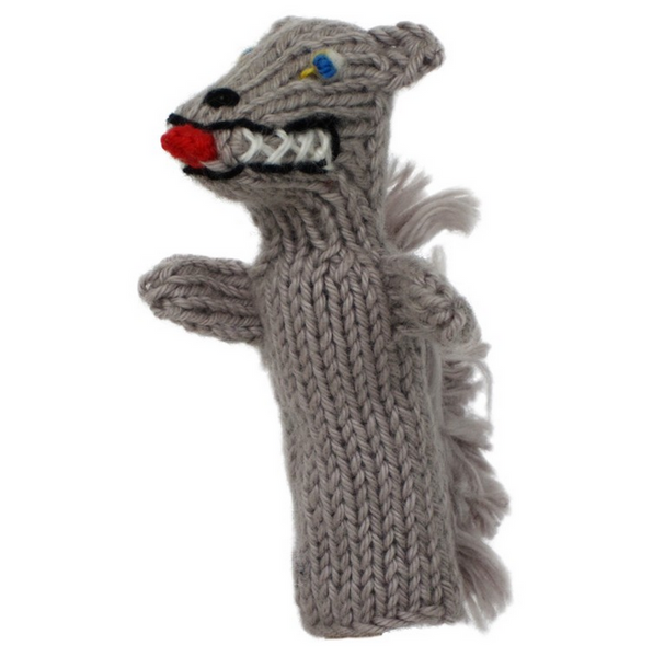 Bright Organic Cotton Finger Puppets - Wolf