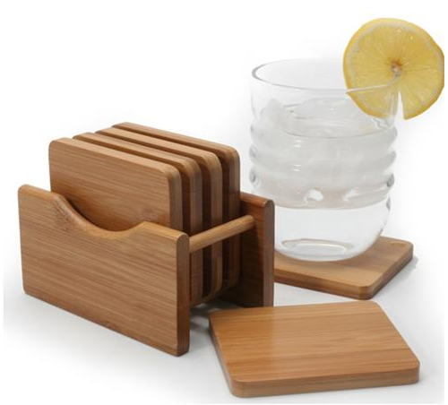 Bamboo Coasters with Holder, Set of 6
