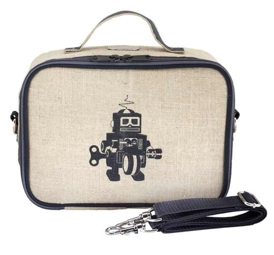 Insulated Grey Robot Lunch Box