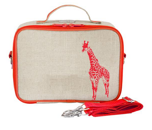 Insulated Neon Orange Giraffe Lunch Box
