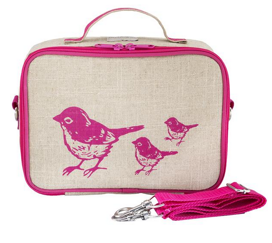 Insulated Pink Birds Lunch Box