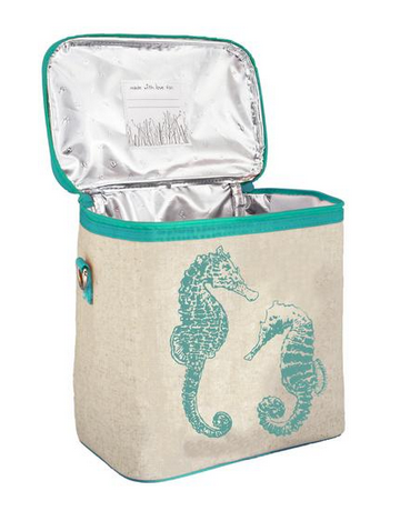 Insulated Aqua Seahorses Small Cooler Bag