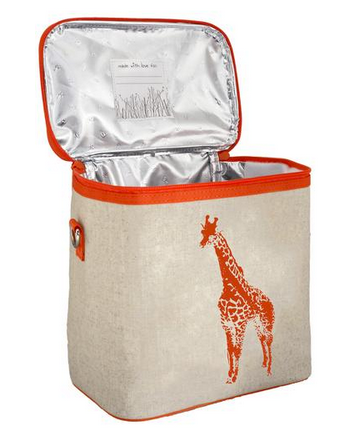 Insulated Neon Orange Giraffe Small Cooler Bag