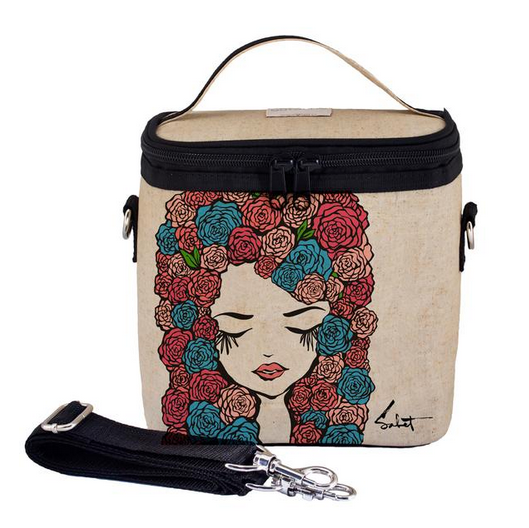 Insulated Pixopop Roses Girl Large Cooler Bag