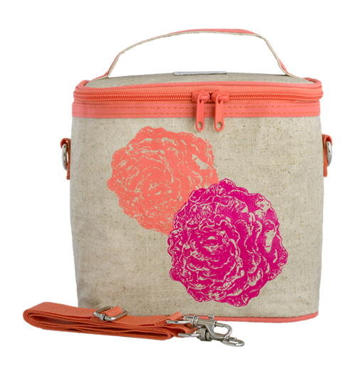 Insulated Neon Orange/Pink Peonies  Large Cooler Bag
