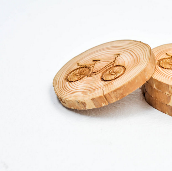 West Coasters Driftwood Coasters, BICYCLE, Set of 4