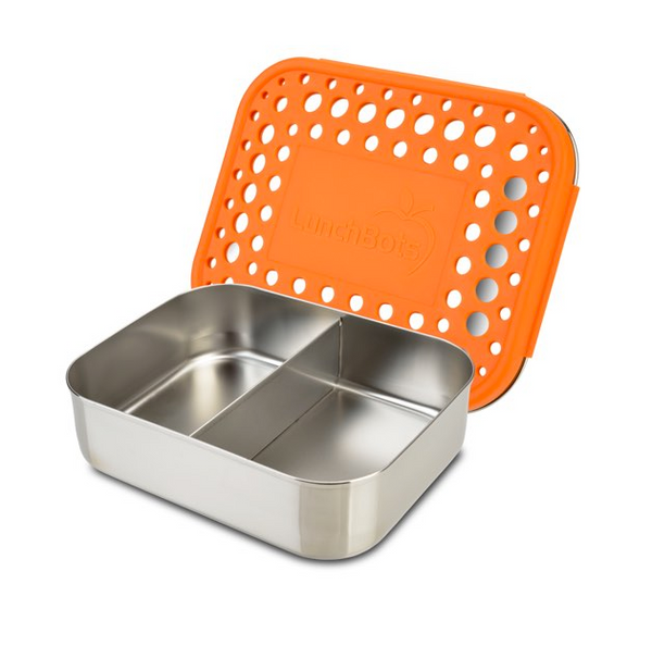 Stainless Steel Duo Container - Orange Dots