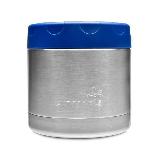 Stainless Steel Insulated Food Container, 16 oz, Blue Lid