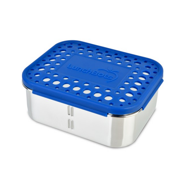 Stainless Steel Deep Duo Container - Royal Blue Dots