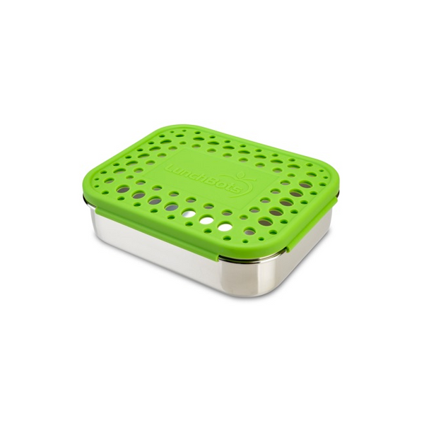 Stainless Steel Quad Container - Green Dots