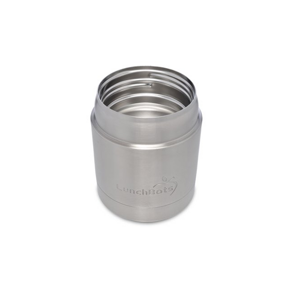 Stainless Steel Insulated Food Container, 8 oz, Black Lid
