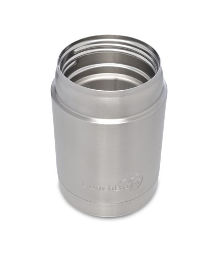 Stainless Steel Insulated Food Container, 12 oz, Black Lid