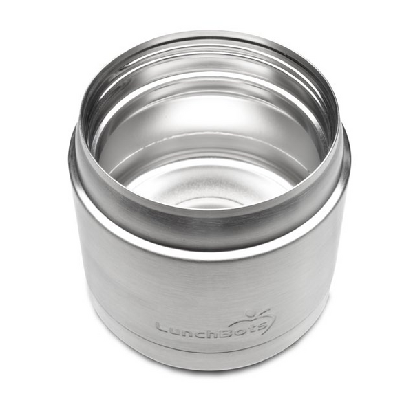 Stainless Steel Insulated Food Container, 16 oz, Black Lid