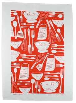 Linen Towel, Red Utensils