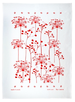 Linen Towel, White with Red Berries & Birds