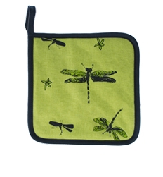Pot Holder, Green Dragonflies
