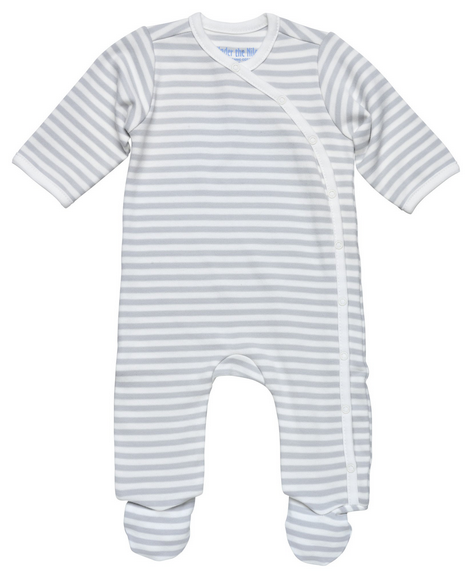 Baby Side Snap Footie - Pastel Stripe, Blue