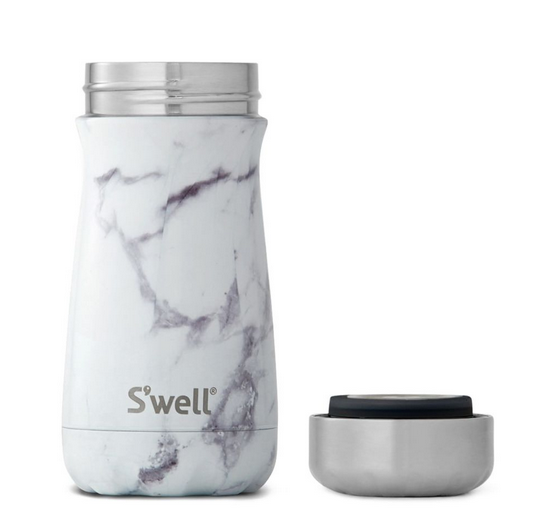 Insulated Stainless Steel Traveler - White Marble