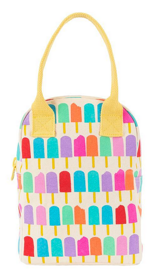 "100% Organic Cotton Zippered Lunch Bag ""Popsicle"""