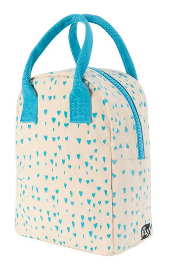 "100% Organic Cotton Zippered Lunch Bag ""Blue Hearts"""