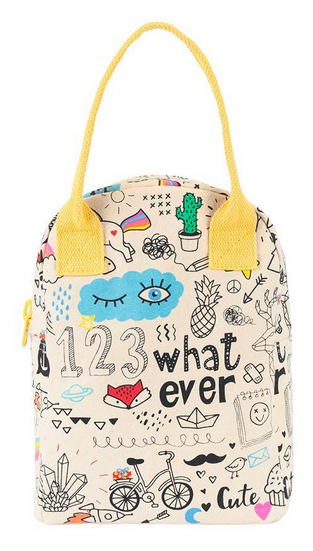 "100% Organic Cotton Zippered Lunch Bag ""Whatever"""