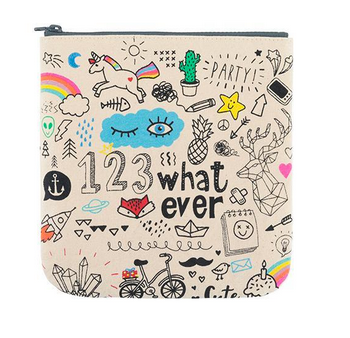 "100% Organic Cotton Zip Pouch ""Whatever"""
