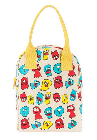 "100% Organic Cotton Zippered Lunch Bag ""Jelly Ghosts"""