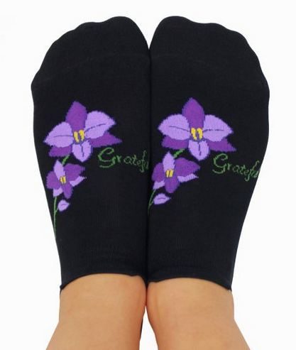 YOGA SOCKS WITH GRIPS - Grateful - Purple Orchid