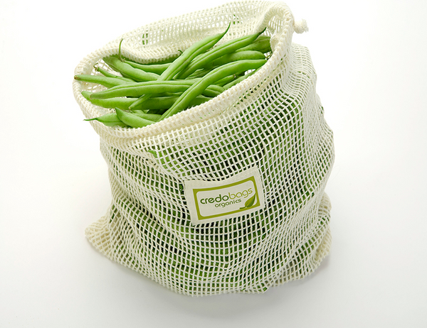 Mesh Produce Bags, 100% Organic Cotton, Set of 4 (2 x M, 2 x L)