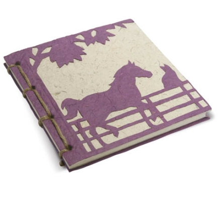 Twine Journal Horse & Cat Purple