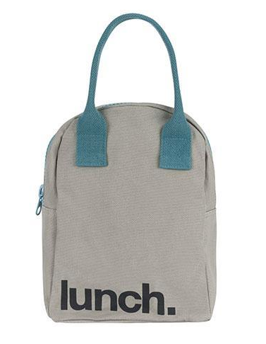100% Organic Cotton Zippered Lunch Bag Grey Midnight