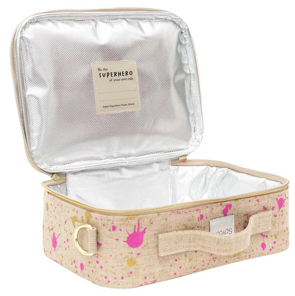 Insulated Linen Lunch Box, Fuchsia and Gold Splatter