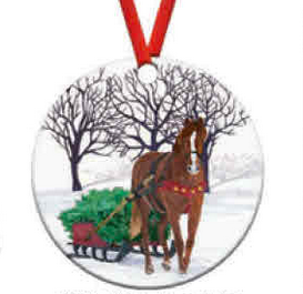 Winter Horse Sleigh Ornament