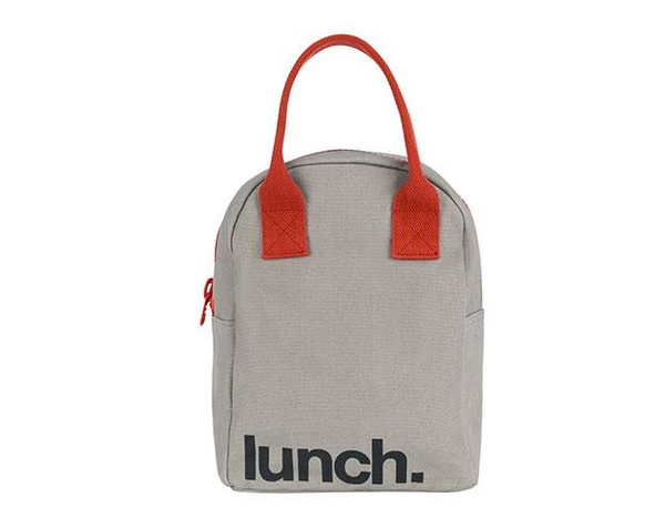 100% Organic Cotton Zippered Lunch Bag Grey Rust