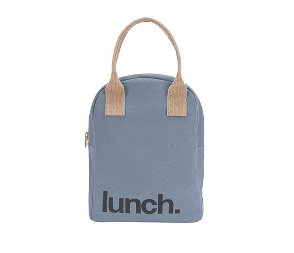 100% Organic Cotton Zippered Lunch Bag Solid Blue