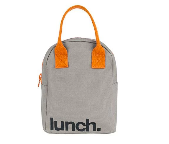 100% Organic Cotton Zippered Lunch Bag Grey Pumpkin