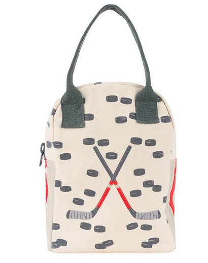100% Organic Cotton Zippered Lunch Bag Hockey