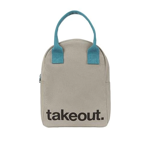 100% Organic Cotton Zippered Lunch Bag Takeout