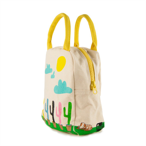 "100% Organic Cotton Zippered Lunch Bag ""Cactus"""