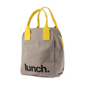 100% Organic Cotton Zippered Lunch Bag Grey Yellow