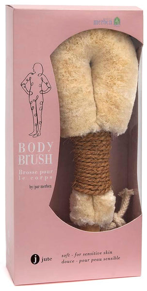 "9"" Medium Jute Dry Body Brush with Brown Natural Cord Handle"